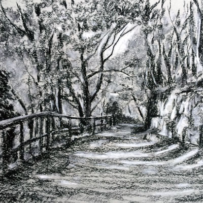 Landscape Sketch with Conté