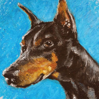 Oil Pastel Dog Portrait