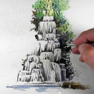 Watercolor Waterfall Sketch