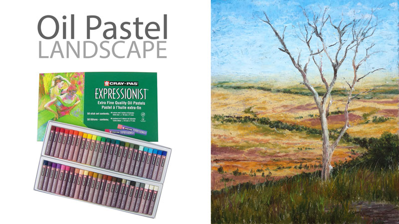 Oil Pastel Landscape Lesson Series - Lone Tree