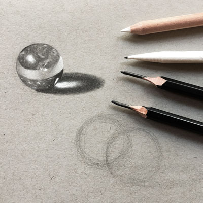 Marbles with Graphite and White Charcoal