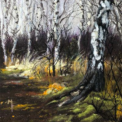 Oil Pastel Landscape Woodland