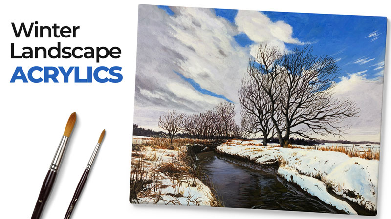 Winter Landscape Painting with Acylics