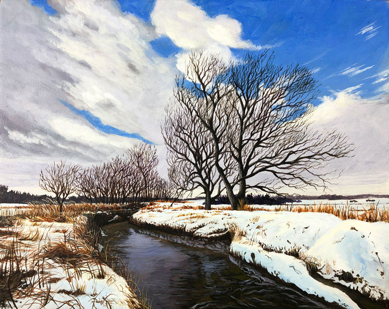 Winter Acrylic Painting