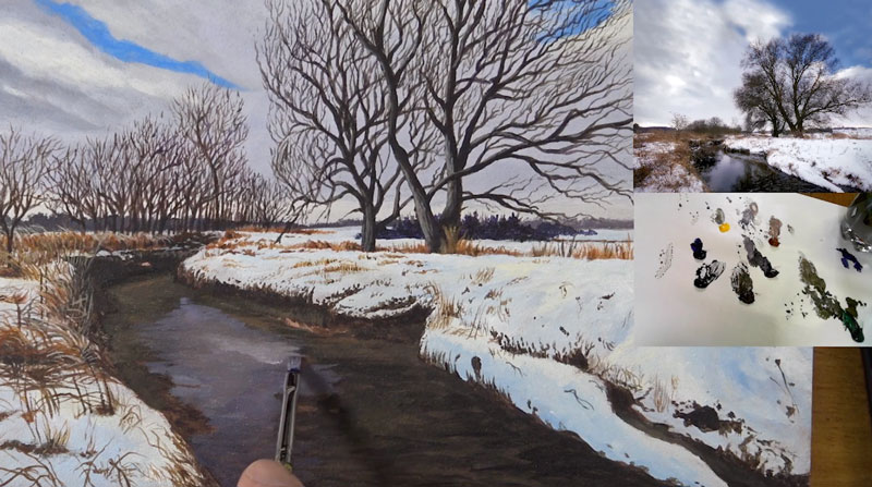 Acrylic winter landscape - lessons 7-9 - painting the water