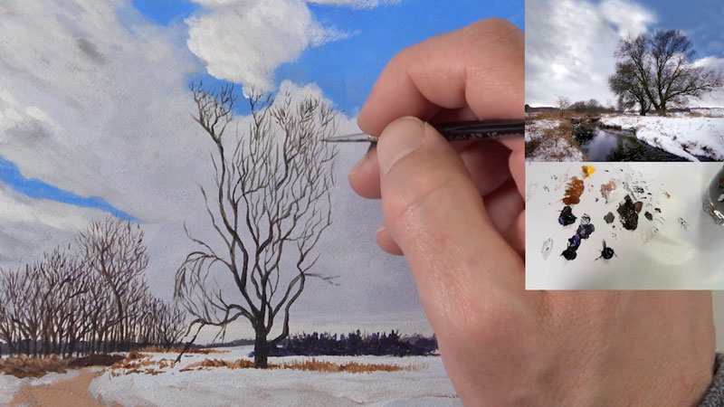 Acrylic winter scene - lessons 4-6 - painting the trees