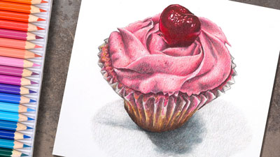 How to Draw a Cupcake with Colored Pencils