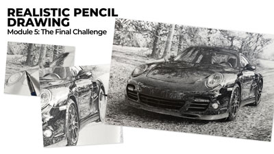 Realistic drawing of a Porsche