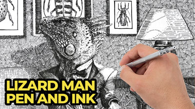 Lizard man lesson series with pen and ink