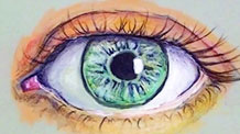 How to draw an eye with tempera paint and colored pencils.
