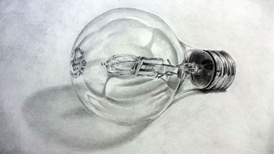 How to draw a realistic light bulb - Live Lesson series
