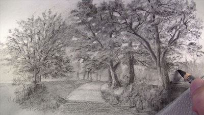 Landscape Sketch with Charcoal Pencils - Lesson