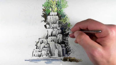 How to paint a waterfall with watercolor