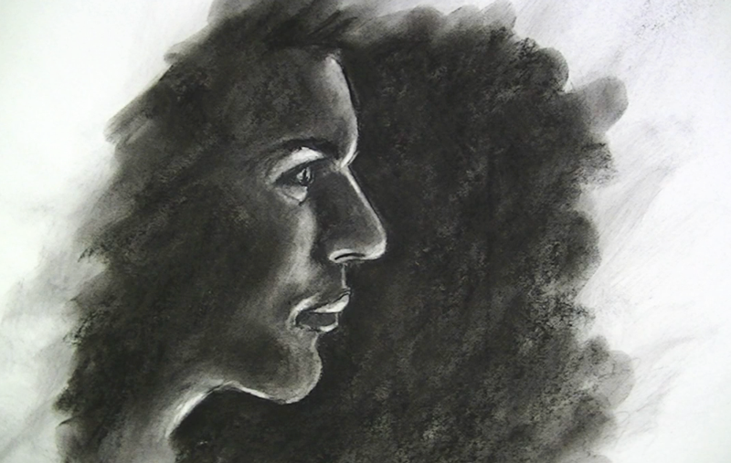 Draw with Powdered charcoal - portrait